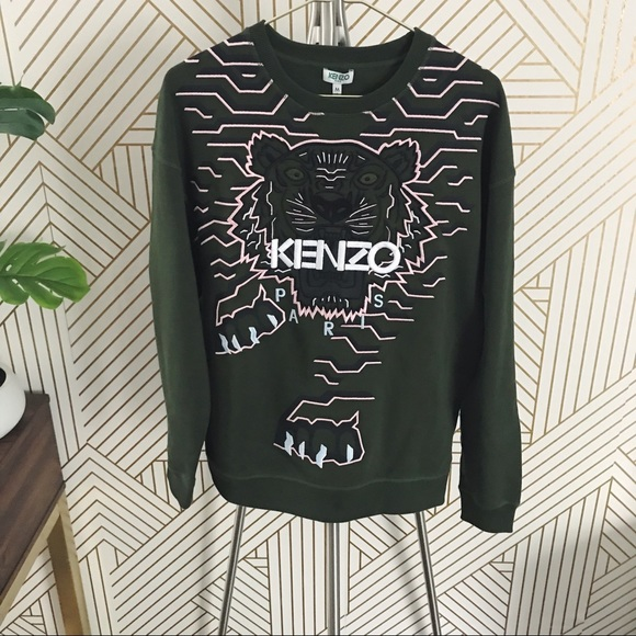 6c8b4368c Kenzo Tops   Olive Green Geo Tiger Sweatshirt   Poshmark